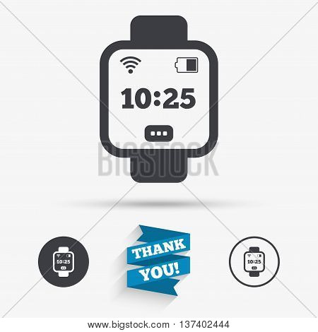 Smart watch sign icon. Wrist digital watch. Wi-fi and battery energy symbol. Flat icons. Buttons with icons. Thank you ribbon. Vector