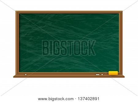 Empty green chalkboard with shadow with wooden frame with yellow sponge and white chalk on white background. vector illustration