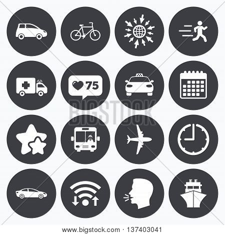 Calendar, wifi and clock symbols. Like counter, stars symbols. Transport icons. Car, bike, bus and taxi signs. Shipping delivery, ambulance symbols. Talking head, go to web symbols. Vector