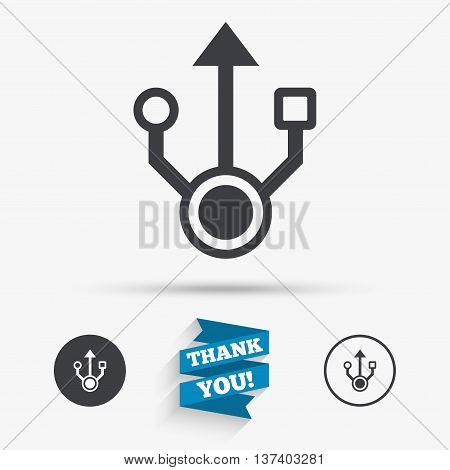 Usb sign icon. Usb flash drive symbol. Flat icons. Buttons with icons. Thank you ribbon. Vector