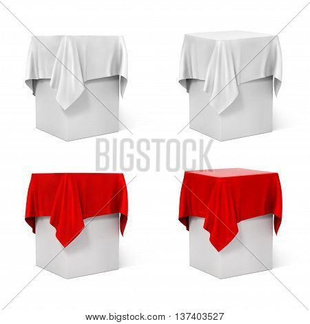 Presentation pedestal covered with cloth isolated on a black background.  vector illustration.