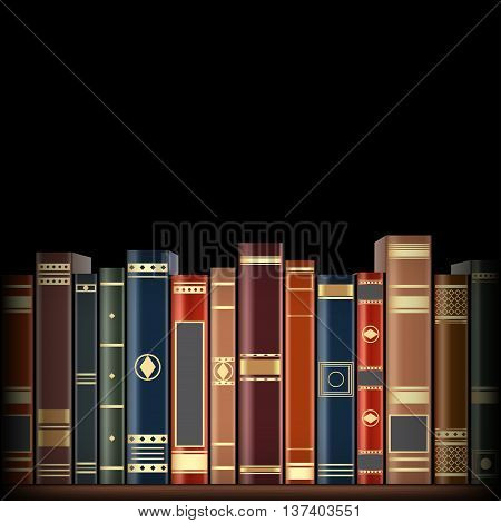 Row of colorful book vector illustration. isolated on a black background.