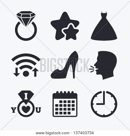 Wedding dress icon. Women's shoe symbol. Wedding or engagement day ring with diamond sign. Wifi internet, favorite stars, calendar and clock. Talking head. Vector