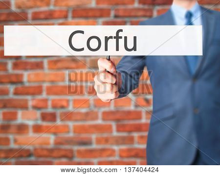 Corfu - Business Man Showing Sign