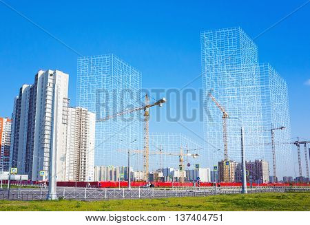 Block of flats under construction working cranes and wire-frame structures of future buildings photo collage