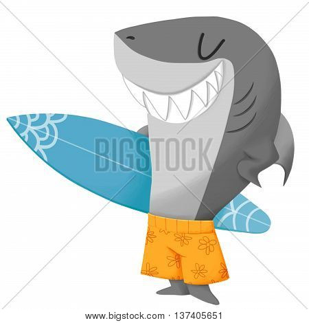 Creative Illustration and Innovative Art: Shark Surfer. Realistic Fantastic Cartoon Style Artwork Scene, Wallpaper, Story Background, Card Design