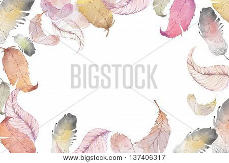 Creative Illustration and Innovative Art: A Clearer Version of Feather Leaves, Water Color Style. Realistic Fantastic Cartoon Style Artwork Scene, Wallpaper, Story Background, Card Design