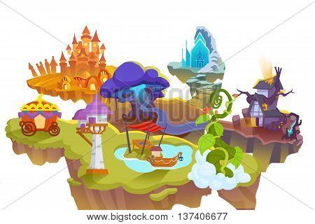 Creative Illustration and Innovative Art: Fairy Tale World isolated on White Background. Realistic Fantastic Cartoon Style Artwork Scene, Wallpaper, Story Background, Card Design
