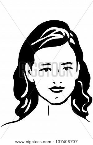 Vector Sketch Of A Beautiful Girl With Brunette Hair
