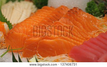 Sashimi Tuna And Salmon On Buffet Line