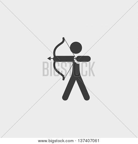 Archer icon in a flat design in black color. Vector illustration eps10