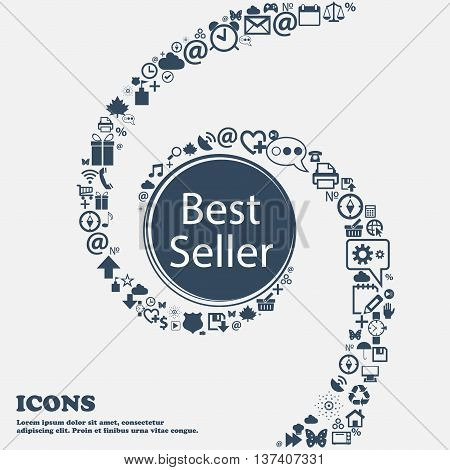 Best Seller Sign Icon. Best-seller Award Symbol In The Center. Around The Many Beautiful Symbols Twi