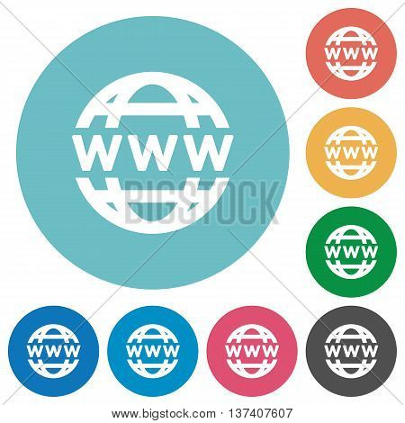 Flat WWW globe icon set on round color background.