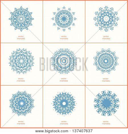 Set of nine blue color oriental flower mandala on white background. Stylish geometric pattern. Ethnic vintage pattern. Indian asian arabic islamic ottoman motif. Vector illustration.