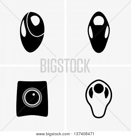 Set of four trackballs on grey background