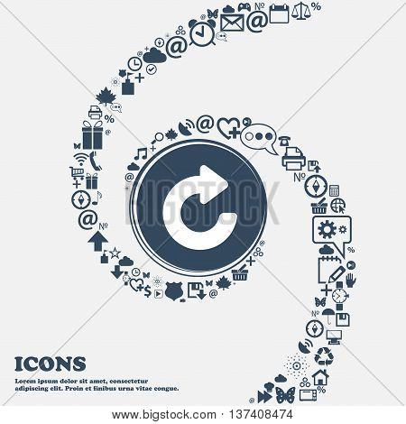 Upgrade, Arrow Icon Sign In The Center. Around The Many Beautiful Symbols Twisted In A Spiral. You C