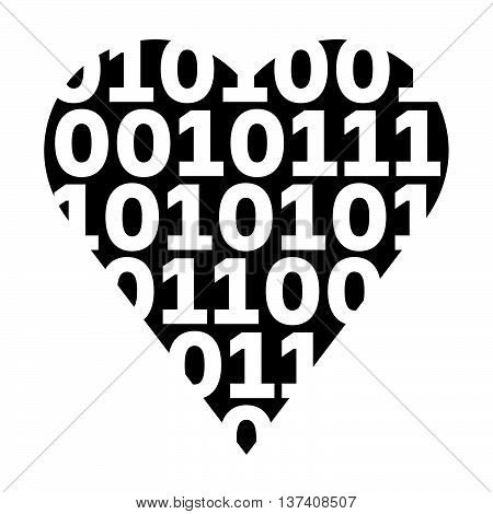 Virtual love, black heart with white figures