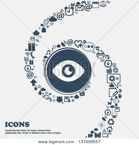 Eye, Publish Content Icon Sign In The Center. Around The Many Beautiful Symbols Twisted In A Spiral.
