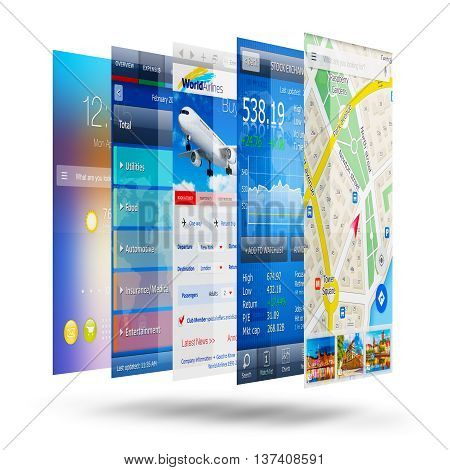 3D render illustration of the group of colorful application screen interfaces with color icons and buttons for smartphone, mobile phone or tablet computer PC isolated on white background