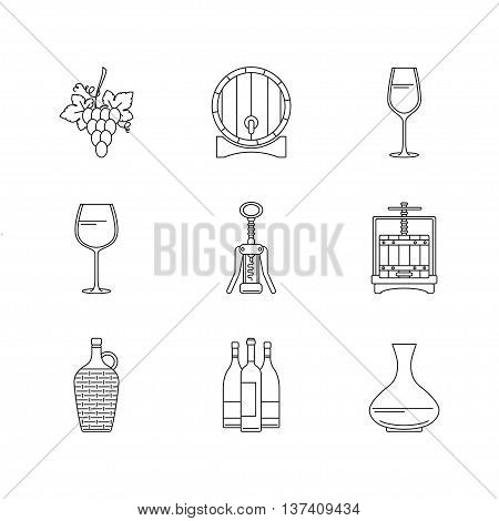 Winemaking icons set on white background. Collection of modern line style design element.