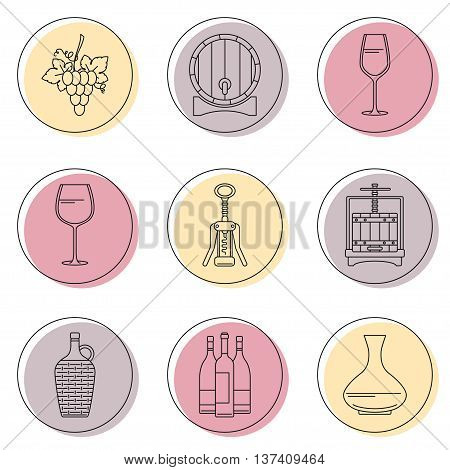 Collection of line style winemaking icons on colorful circles. Vector illustration.