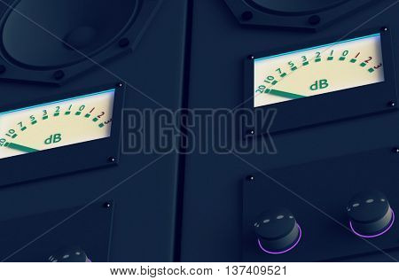 Acoustic speaker on a black background. 3D illustration. Toned image