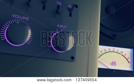 Retro amplifier -level meter and switchers. 3D illustration. Toned image