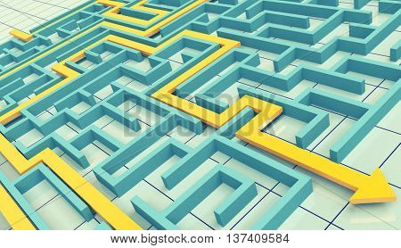 strategy metaphor with the graph and the labyrinth. Toned image, 3D illustration