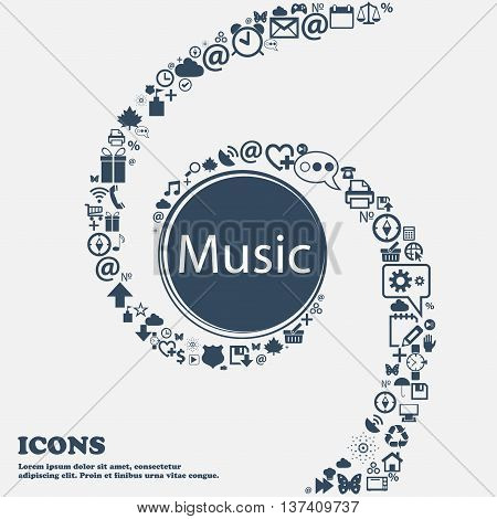 Music Sign Icon. Karaoke Symbol In The Center. Around The Many Beautiful Symbols Twisted In A Spiral