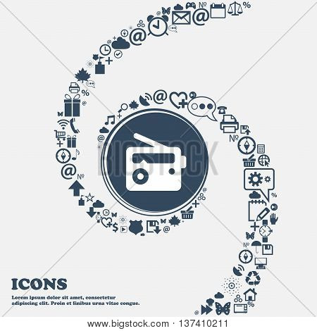 Retro Radio Icon Sign In The Center. Around The Many Beautiful Symbols Twisted In A Spiral. You Can