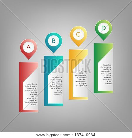 Vector colorful A B C D pointers with information text frames. Red blue green yellow infographics on grey background