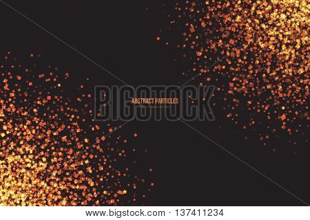 Abstract bright golden shimmer glowing square particles vector background. Scatter shine tinsel light explosion effect. Burning sparks. Celebration holidays and party illustration