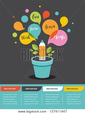 Growing idea - education, creativity and science concept illustration, infographics