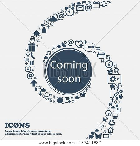 Coming Soon Sign Icon. Promotion Announcement Symbol In The Center. Around The Many Beautiful Symbol