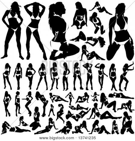 collection of women in bikini vector