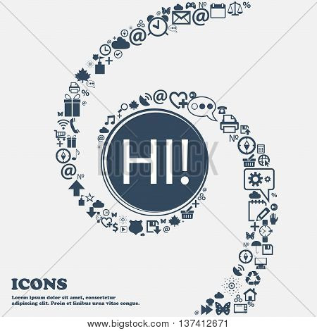 Hi Sign Icon. India Translation Symbol In The Center. Around The Many Beautiful Symbols Twisted In A