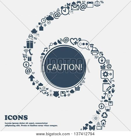 Attention Caution Sign Icon. Exclamation Mark. Hazard Warning Symbol In The Center. Around The Many