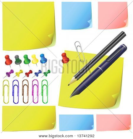post it, note paper, pencil, pen, office pack ( different color )