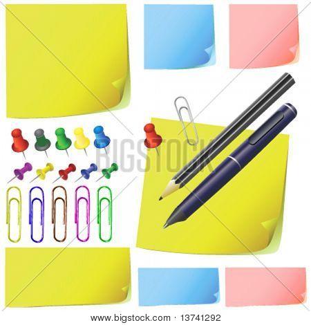 post-nota de papel, lápis, caneta, pacote office (cor diferente)