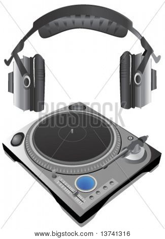 turntable and headphone vector (details)