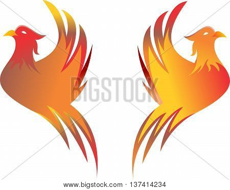 stock logo flaming bird flying in white background