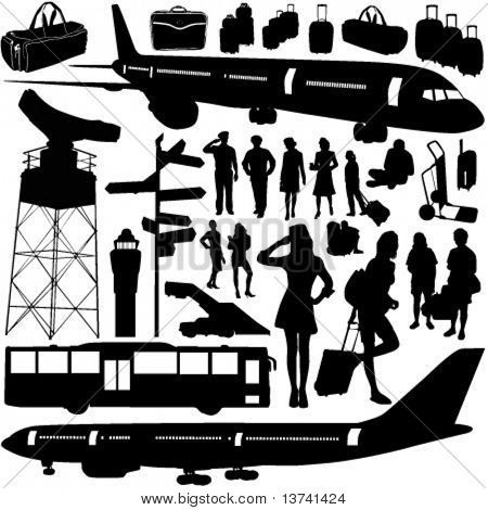 airport, airplane set vector