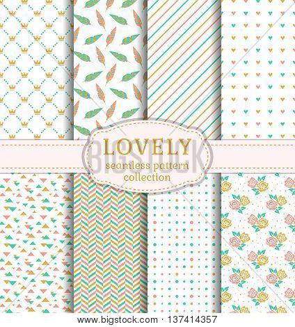 Set of pretty patterns with hearts flowers feathers crowns and abstract ornaments for wedding and romantic themes. Collection of seamless backgrounds in pastel colors. Vector illustration.