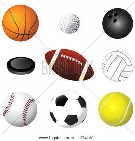 vetor de detalhe de bolas de esporte