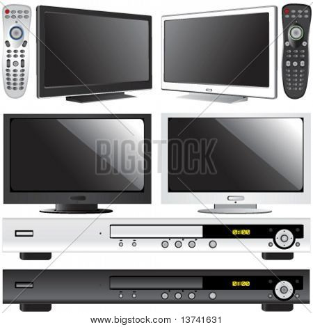 LCD TV, dvd player and control