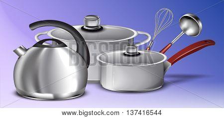 Set of cookware. Vector illustration. Kitchen utensils.