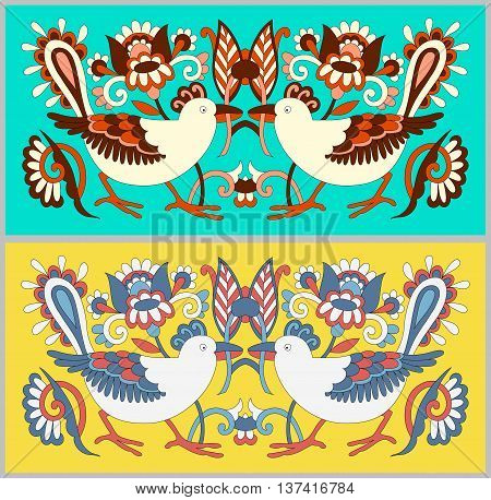 original oriental decorative ethnic bird with flowers, ethno ukrainian pattern for your design, vector illustration