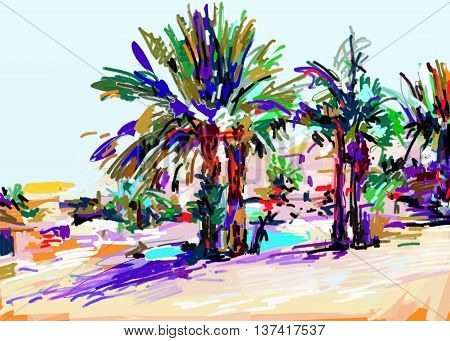 original digital painting of Cyprus colorful landscape with palms, vector illustration