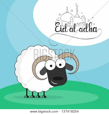 Cute sheep on a green meadow flat style vector illustration with Eid al-Adha handwritten lettering for Muslim holiday Bakr-Eid or Sacrifice Feast