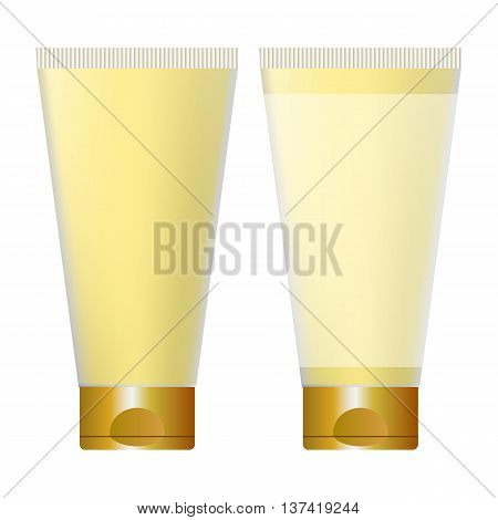 yellow tube of cream cosmetics isolated on white background